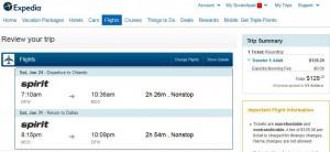 Dallas-Orlando: Expedia Booking Page