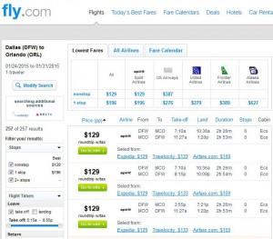 Dallas-Orlando: Fly.com Search Results