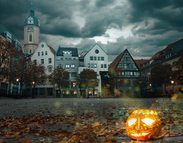 Halloween Pumpkin on Medieval Market Square (Shutterstock.com)