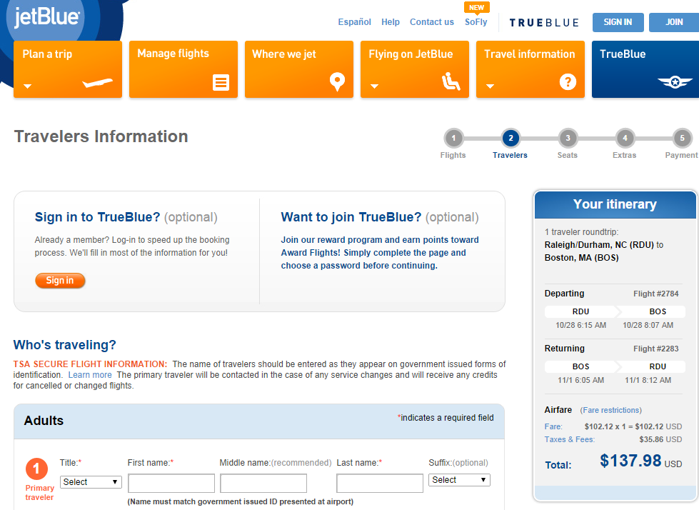 Jetblue Booking Page: Raleigh to Boston