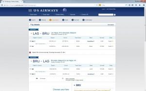 Las Vegas-Brussels: US Airways Booking Page