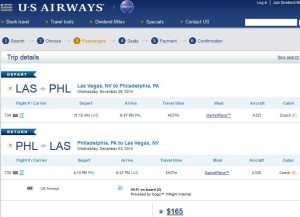 Las Vegas-Philadelphia: US Airways Booking Page