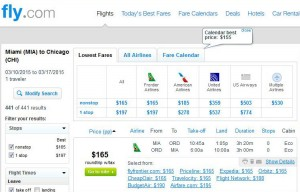 Miami-Chicago: Fly.com Search Results