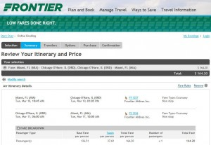 Miami-Chicago: Frontier Booking Page
