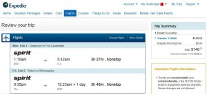 Minneapolis-Fort Lauderdale: Expedia Booking Page