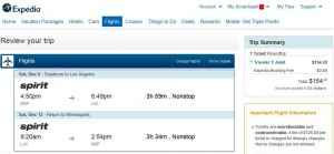 Minneapolis-Los Angeles: Expedia Booking Page