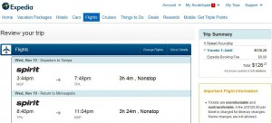 Minneapolis-Tampa: Expedia Booking Page