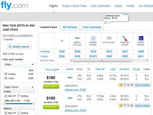 New York City-San Juan: Fly.com Search Results  (March)