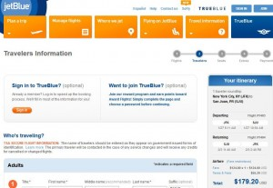 New York City-San Juan: JetBlue Booking Page