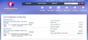 $640-$650 -- NYC to Hawaii: Hawaiian Airlines Booking Page