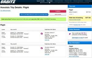 Oakland-Honolulu: Orbitz Booking Page