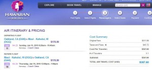 Oakland-Maui: Hawaiian Booking Page
