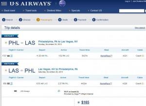 Philadelphia-Las Vegas: US Airways Booking Page