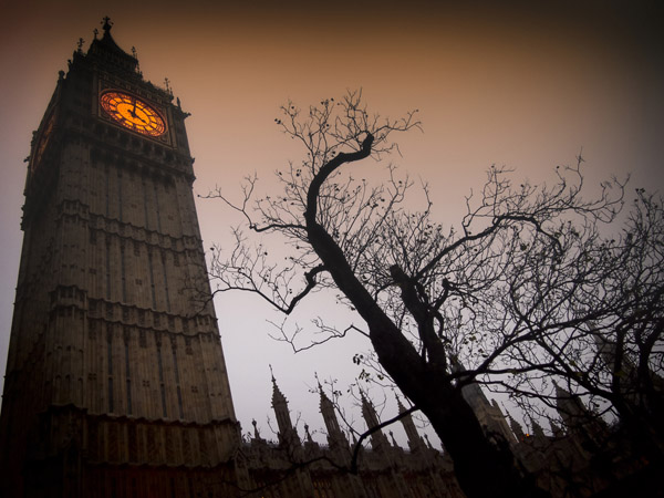 Spooky Clock Tower of Westminster in Autumn (Shutterstock.com)