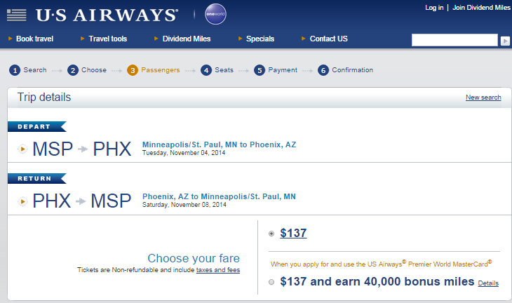 US Airways Booking Page: Minneapolis to Phoenix