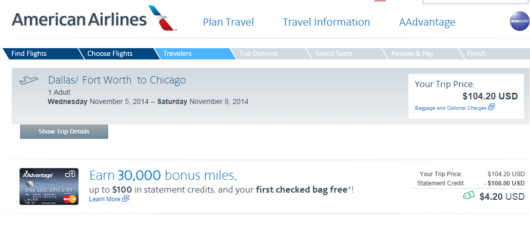 American Airlines Booking Page: Dallas to Chicago