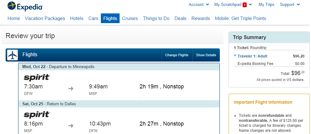 Expedia Booking Page: Dallas to Minneapolis