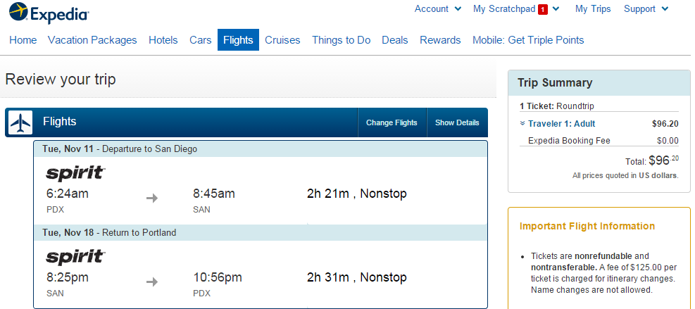 Expedia Booking Page: Portland to San Diego