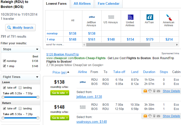 Fly.com Results Page: Raleigh to Boston
