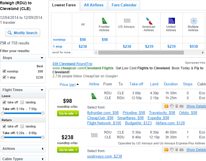 Fly.com Results Page: Raleigh to Cleveland