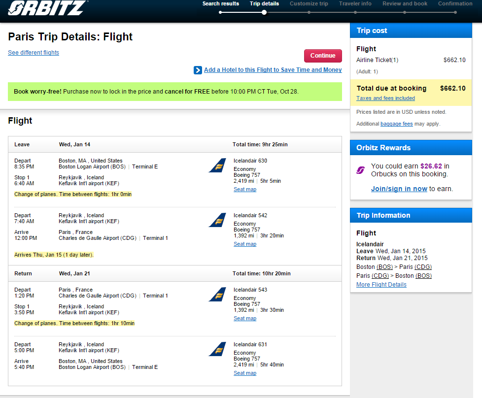 Orbitz Booking Page: Boston to Paris