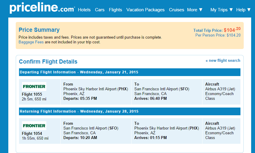 Priceline Booking Page: Phoenix to San Francisco