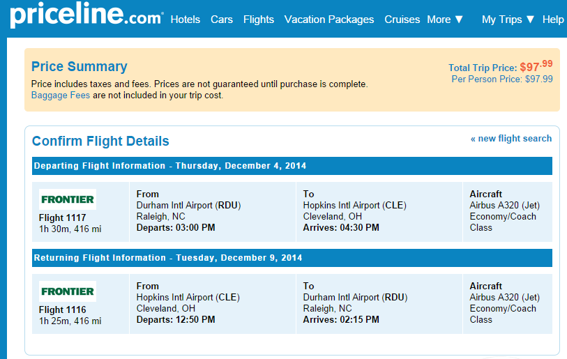 Priceline Booking Page: Raleigh to Cleveland
