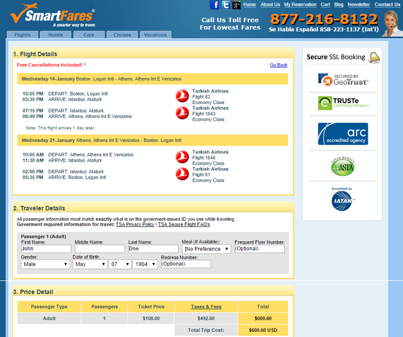 SmartFares Booking Page: Boston to Athens
