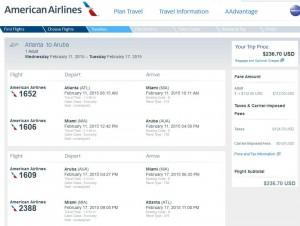 Atlanta-Aruba: American Airlines Booking Page