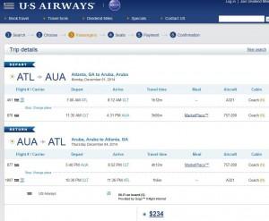 Atlanta-Aruba: US Airways Booking Page