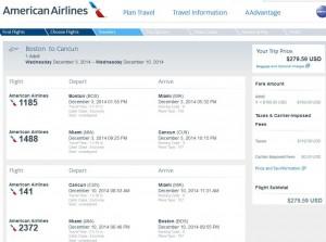 Boston-Cancun: American Booking Page