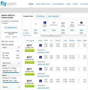 Boston-Cancun: Fly.com Search Results (March)