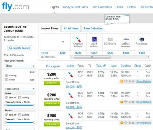 Boston-Cancun: Fly.com Search Results