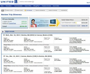 Boston-Cancun: United Booking Page (March)