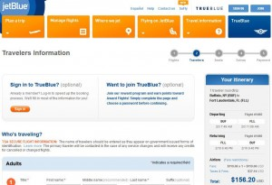 Buffalo-Fort Lauderdale: JetBlue Booking Page