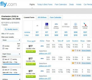 Charleston, SC-Washington, D.C.: Fly.com Search Results
