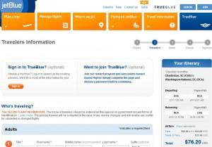 Charleston, SC-Washington, D.C.: JetBlue Booking Page
