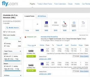 $468 -- Charlotte to Honolulu: Fly.com Results Page