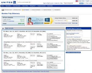 $468 -- Charlotte to Honolulu: United Booking Page