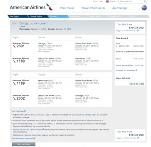 $335 -- Chicago to Vancouver: AA Booking Page