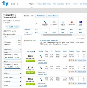 $335 -- Chicago to Vancouver: Fly.com Results
