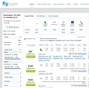 $57 -- D.C. to Charlotte: Fly.com Results