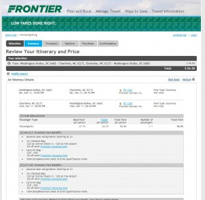 $57 -- D.C. to Charlotte: Frontier Booking Page