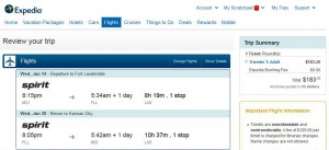 Kansas City-Fort Lauderdale: Expedia Booking Page