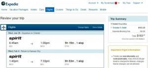 Kansas City-Orlando: Expedia Booking Page