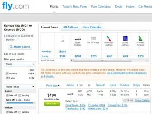 Kansas City-Orlando: Fly.com Search Results