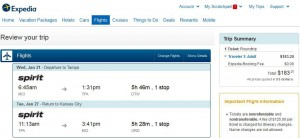Kansas City-Tampa: Expedia Booking Page