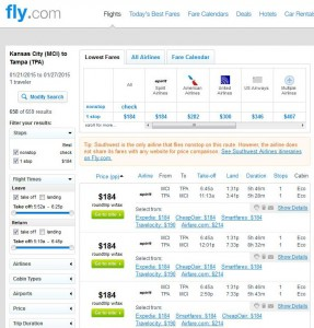 Kansas City-Tampa: Fly.com Search Results