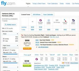 Oakland-Honolulu: Fly.com Search Results