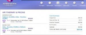 Oakland-Honolulu: Hawaiian Booking Page